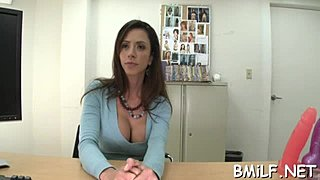 Cock stroking a broiling sweet MILF